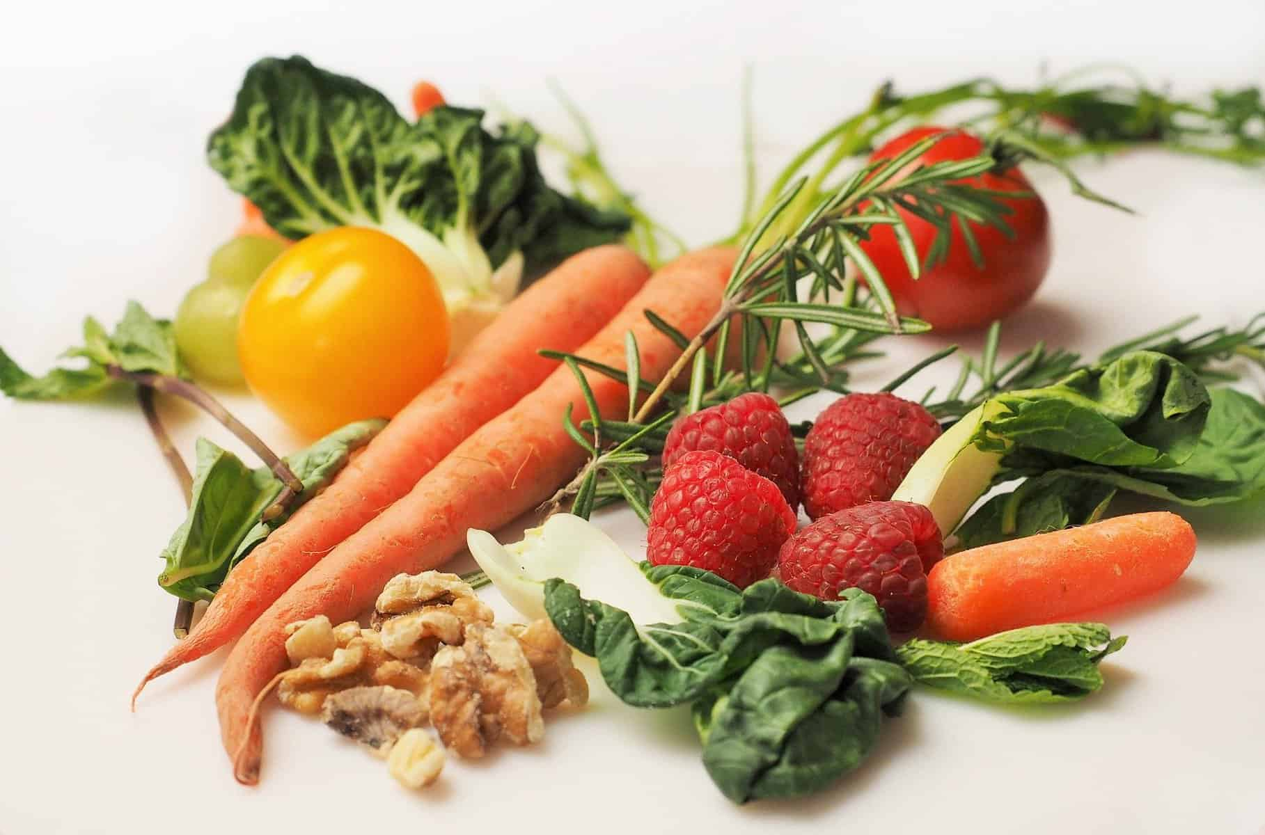 vegetables, fruits and nuts